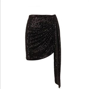Jonathan Simkhai Sequin Drape Mini Skirt Black 2
